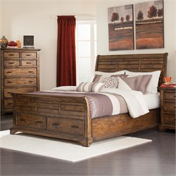 Coaster Elk Grove Sleigh Bed with Drawers in Vintage Bourbon