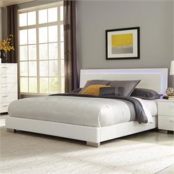 Coaster Felicity Lighting Bed in High Gloss White