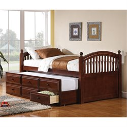 Coaster Twin Daybed with Trundle and Storage Drawers in Cherry