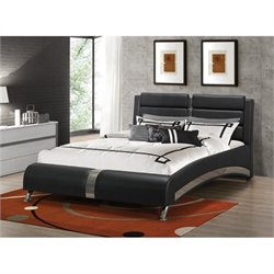 Coaster Jeremaine Upholstered Modern Bed in Black 300350