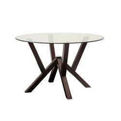 Coaster Beaux Glass Top Round Dining Table in Cappuccino