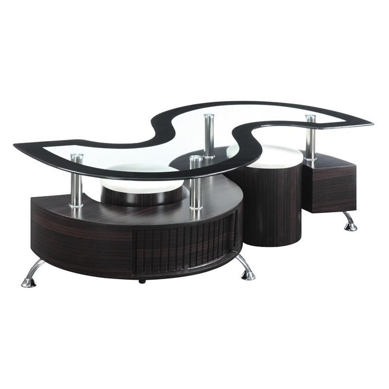 Coaster coffee table with stools in cappuccino 720218 Coaster coffee tables