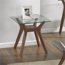 Coaster Glass Top End Table in Nutmeg