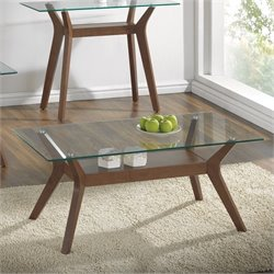 Coaster 1 Shelf Glass Top Coffee Table in Nutmeg