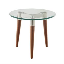 Coaster Glass Top Round End Table in Nickel