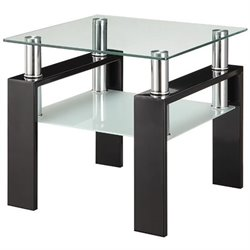 Coaster Glass Top End Table in Black
