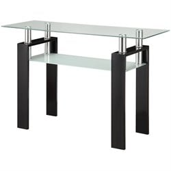 Coaster 1 Shelf Glass Top Console Table in Black