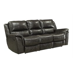Coaster Wingfield Leather Motion Sofa with Pillow Arms in Charcoal