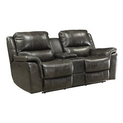 Coaster Wingfield Leather Reclining Loveseat with USB Port in Charcoal