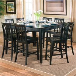 Coaster Pines 9 Piece Contemporary Counter Height Dining Set in Black