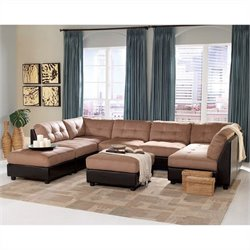 Coaster Claude Microfiber Sectional with Ottoman in Brown
