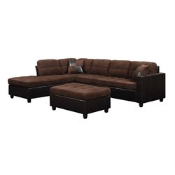 Coaster Fabric Sectional with Ottoman in Chocolate