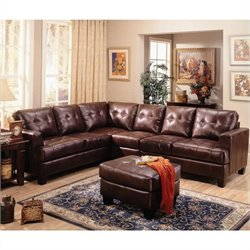 Coaster Samuel 4 Piece Leather Sectional with Ottoman in Chocolate