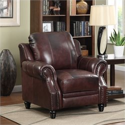 Coaster Princeton Leather Recliner in Brown