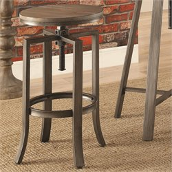 Coaster Swivel Height Adjustable Bar Stool in Medium Walnut