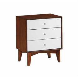 Coaster Oakwood 3 Drawer Nightstand in Golden Brown and White