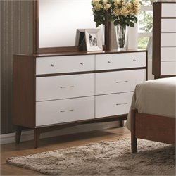 Coaster Oakwood 6 Drawer Dresser in Golden Brown and White