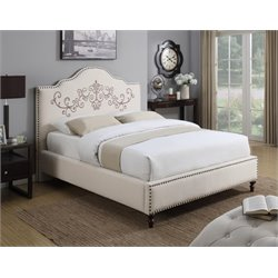 Coaster Homecrest Upholstered Bed in Beige