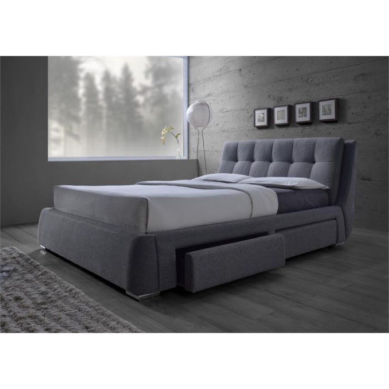 Coaster fenbrook upholstered king platform bed with for Upholstered king bed with storage