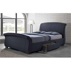 Coaster Bristol Upholstered Platform Bed with Storage in Dark Gray