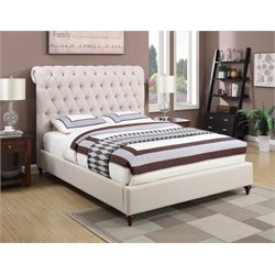 Coaster Devon Upholstered Bed in Beige