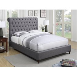 Coaster Devon Upholstered Bed in Gray