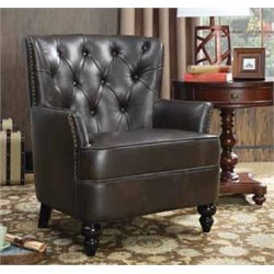 Coaster Faux Leather Upholstered Accent Chair in Dark Brown