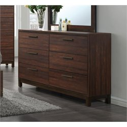 Coaster Edmonton 6 Drawer Dresser in Rustic Tobacco and Dark Bronze