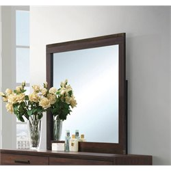 Coaster Edmonton Wood Frame Mirror in Rustic Tobaccoand Dark Bronze