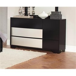 Coaster Havering Dovetail Drawer Dresser in Black and Sterling