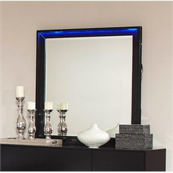 Coaster Havering LED Light Mirror in Black and Sterling