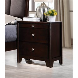 Coaster Maddison 3 Drawer Nightstand in Dark Merlot
