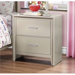 Coaster Lana 2 Drawer Nightstand in Silver
