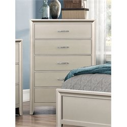 Coaster Lana 5 Drawer Chest in Silver
