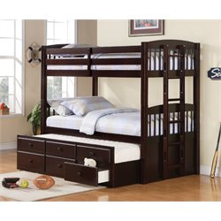 Coaster Twin Over Twin Bunk Bed in Cappuccino