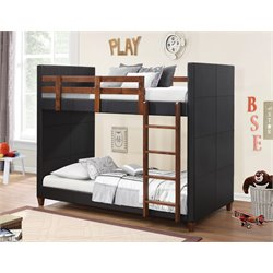 Coaster Upholstered Twin Over Twin Bunk Bed in Black