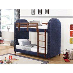 Coaster Upholstered Twin Over Twin Bunk Bed in Dark Blue