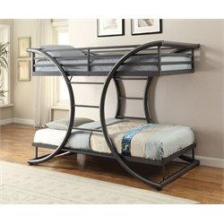 Coaster Twin Over Twin Bunk Bed in Dark Gun Metal