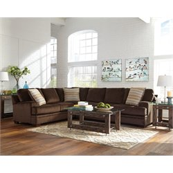 Coaster Robion Plush Corner Left Facing Sectional in Chocolate
