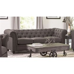 Coaster Roy Button Tufted Sofa in Gray
