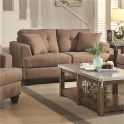 Coaster Samuel Tufted Loveseat in Light Mocha