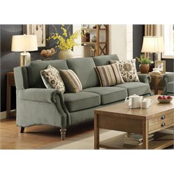 Coaster Rosenberg Rolled Arm Sofa in Sage Green