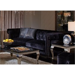 Coaster Reventlow Nailhead Trim Sofa in Black