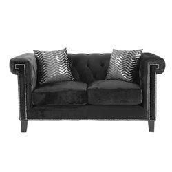 Coaster Reventlow Nailhead Trim Loveseat in Black