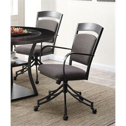 Coaster Dining Arm Chair in Dark Gray