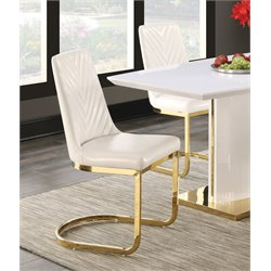 Coaster Upholstered Dining Side Chair in White