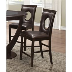 Coaster Faux Leather Counter Stool in Dark Brown