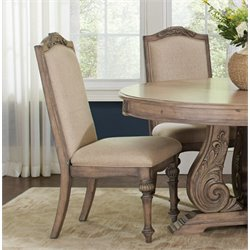 Coaster Upholstered Dining Side Chair in Antique Linen