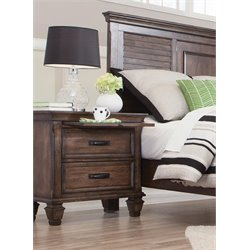 Coaster 2 Drawer Nightstand in Burnished Oak