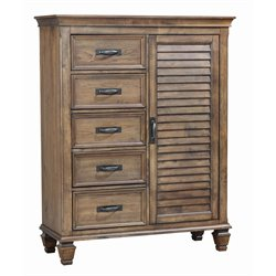 Coaster 5 Drawer Chest in Burnished Oak